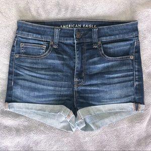 American Eagle Hi-Rise Shortie Denim Jean Shorts